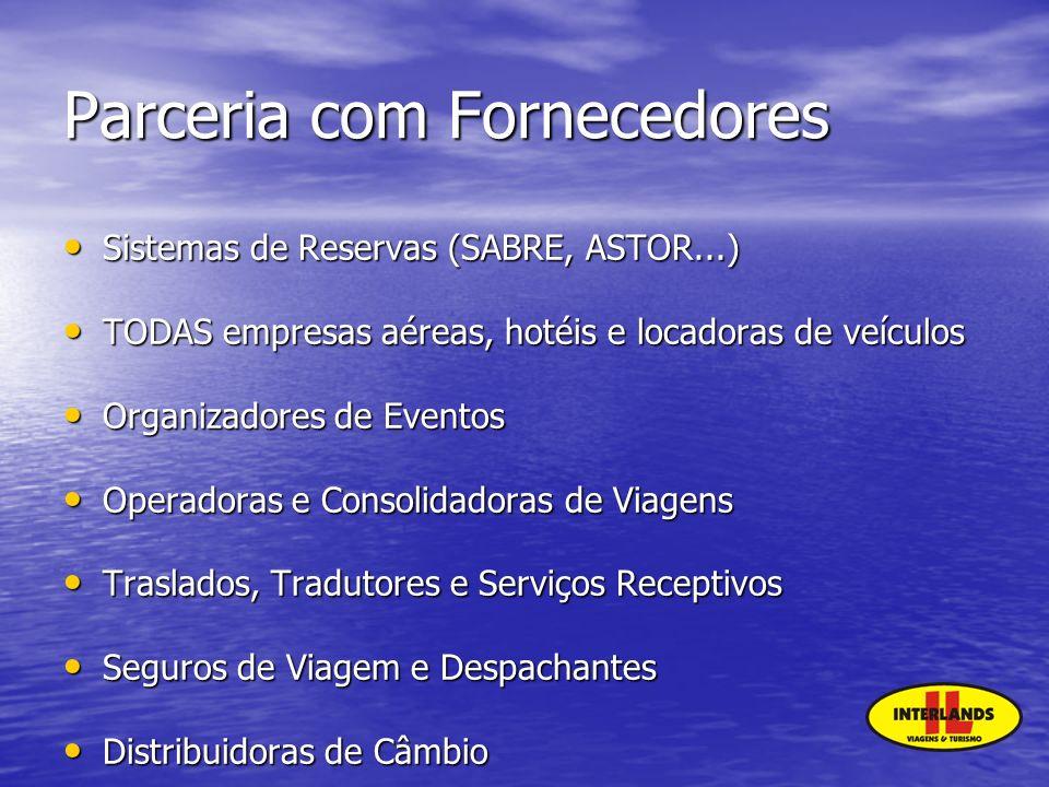 Parceria com Fornecedores Sistemas de Reservas (SABRE, ASTOR...) Sistemas de Reservas (SABRE, ASTOR...) TODAS empresas aéreas, hotéis e locadoras de v