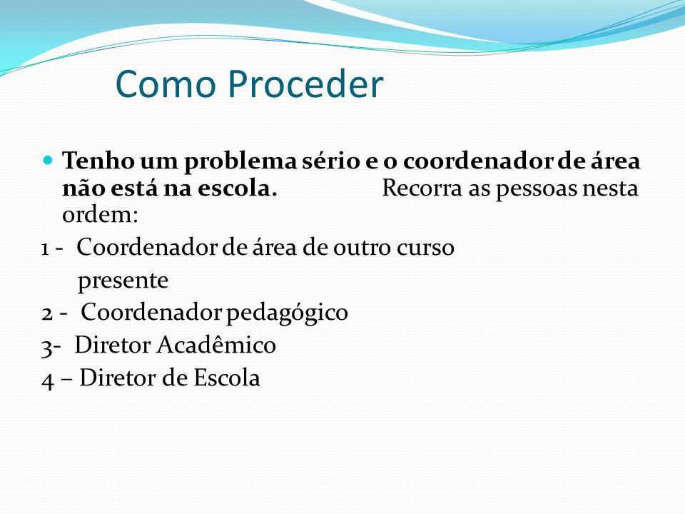 Como Proceder Perda de Prova : Procurar em primeiro lugar o professor, depois a coordenação de área e se necessário a coordenação pedagógica. Problema