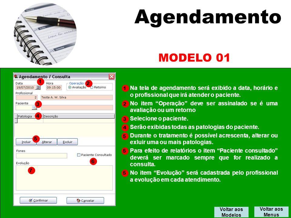 Agendamento Voltar aos Menus Na tela de agendamento será exibido a data, horário e o profissional que irá atender o paciente.
