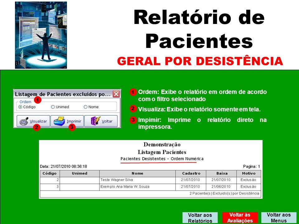 Relatório de Pacientes GERAL POR DESISTÊNCIA 1 2 3 1 2 3 Ordem: Exibe o relatório em ordem de acordo com o filtro selecionado Visualiza: Exibe o relatório somente em tela.