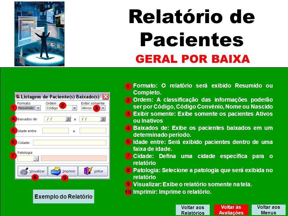 Relatório de Pacientes GERAL POR BAIXA Formato: O relatório será exibido Resumido ou Completo.