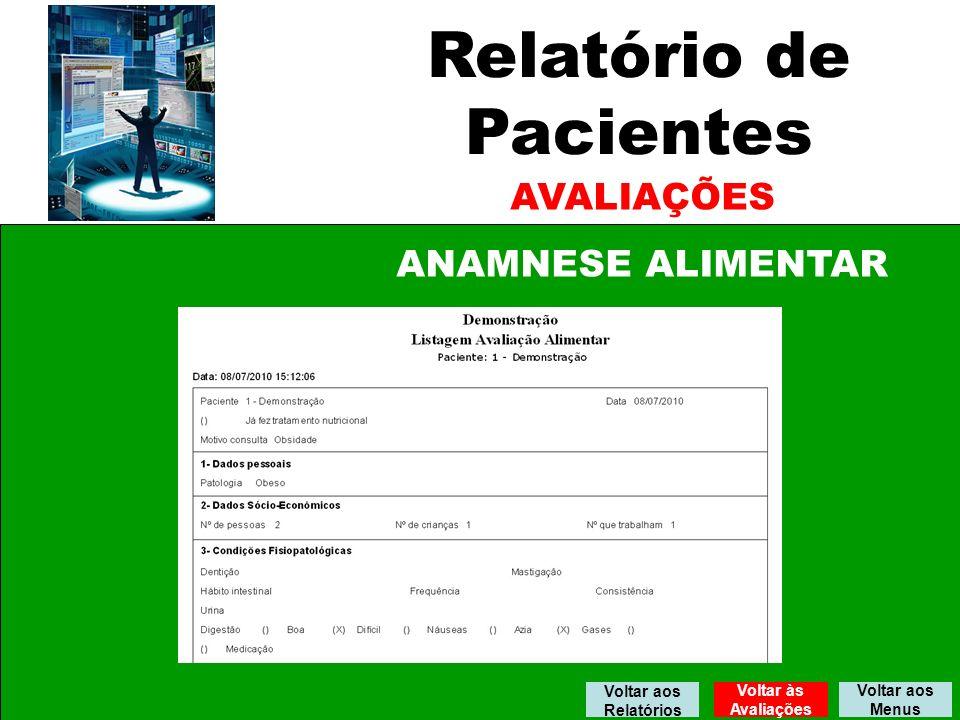 Relatório de Pacientes AVALIAÇÕES ANAMNESE ALIMENTAR Voltar aos Menus Voltar aos Relatórios Voltar às Avaliações