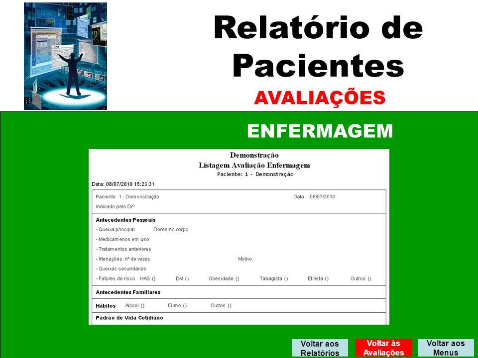 Relatório de Pacientes AVALIAÇÕES ENFERMAGEM Voltar aos Menus Voltar aos Relatórios Voltar às Avaliações