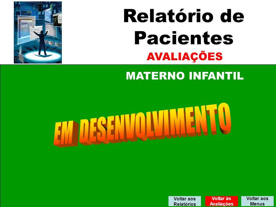 Relatório de Pacientes AVALIAÇÕES MATERNO INFANTIL Voltar aos Menus Voltar aos Relatórios Voltar às Avaliações