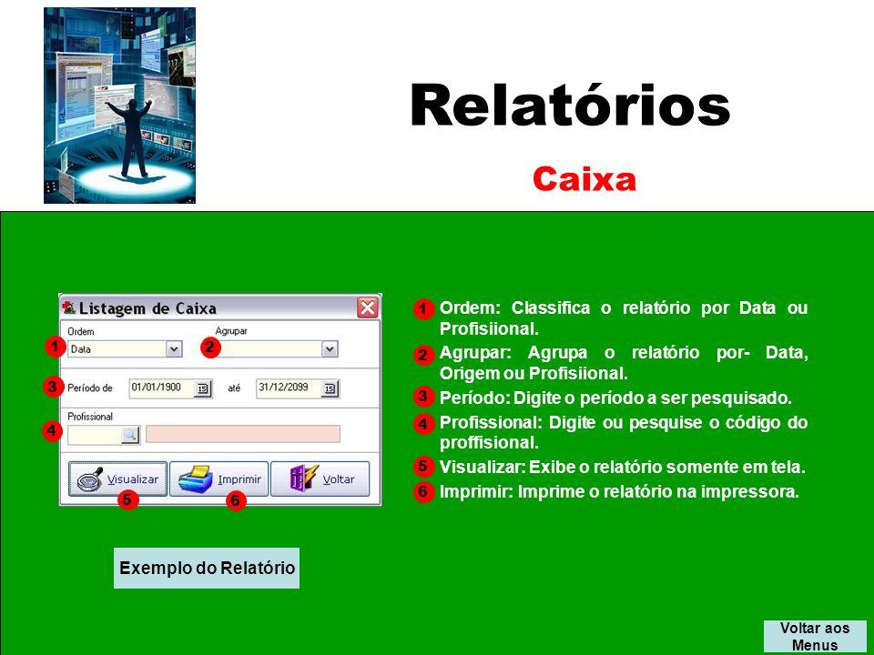 Relatórios Voltar aos Menus Caixa Ordem: Classifica o relatório por Data ou Profisiional.