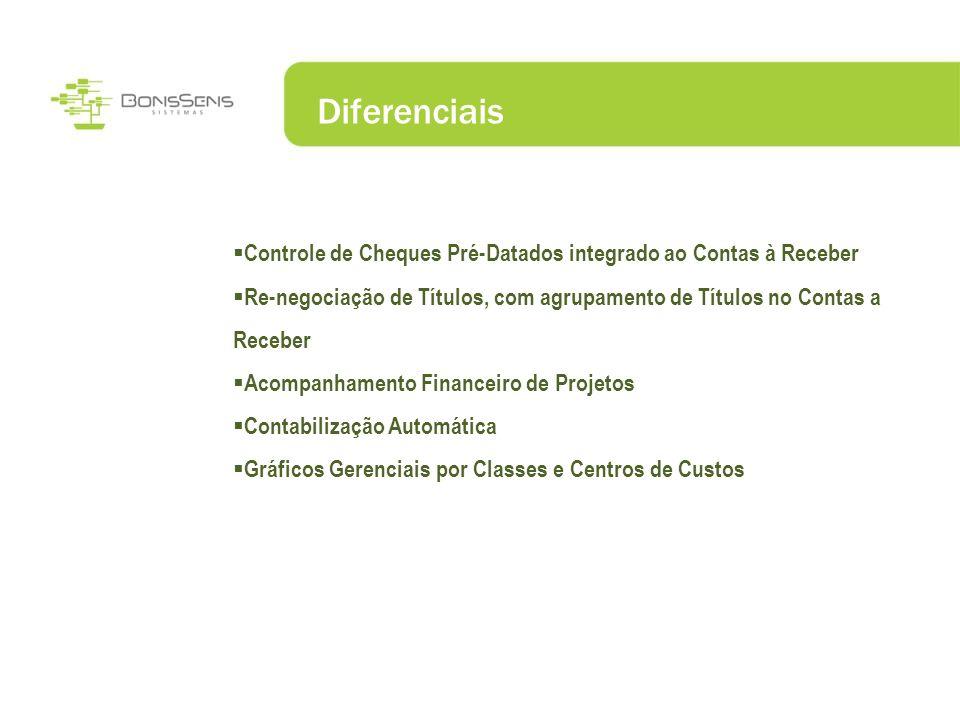Diferenciais Controle de Cheques Pré-Datados integrado ao Contas à Receber Re-negociação de Títulos, com agrupamento de Títulos no Contas a Receber Ac