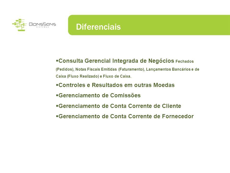 Diferenciais Consulta Gerencial Integrada de Negócios Fechados (Pedidos), Notas Fiscais Emitidas (Faturamento), Lançamentos Bancários e de Caixa (Flux