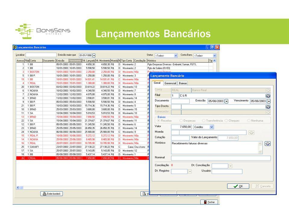 Lançamentos Bancários Acessos Rápidos via Botão direito do Mouse