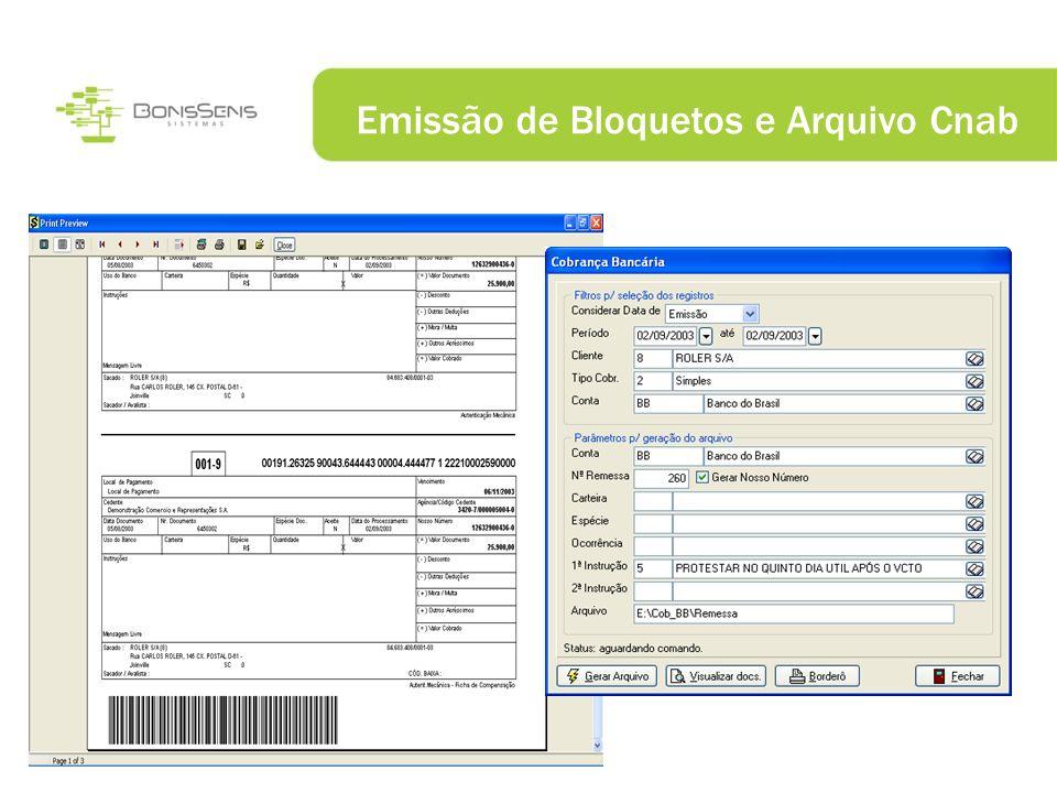 Emissão de Bloquetos e Arquivo Cnab