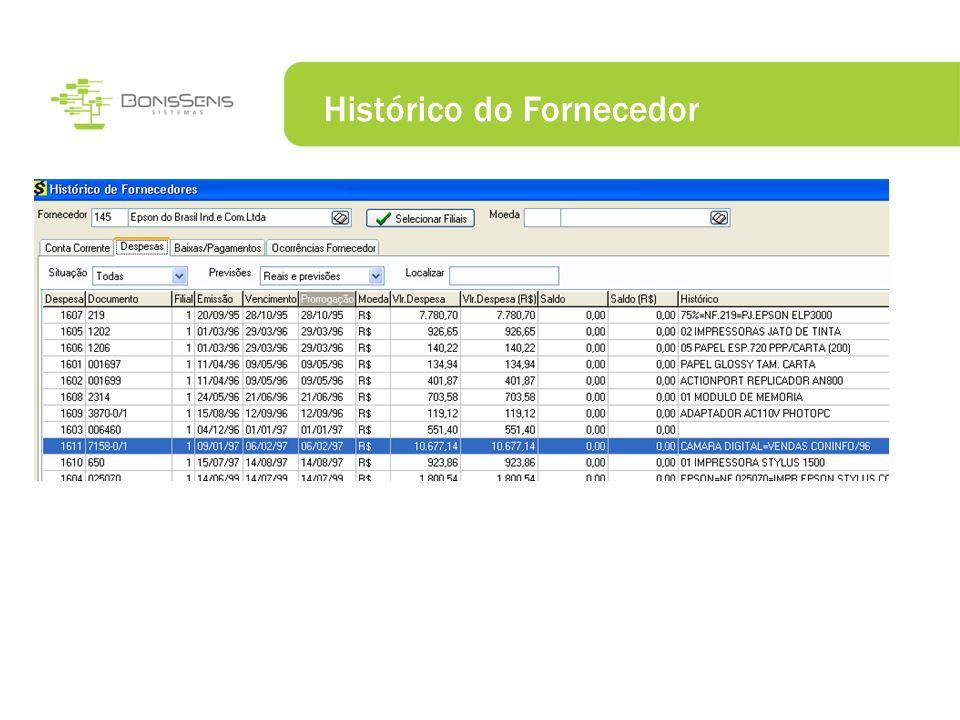 Histórico do Fornecedor
