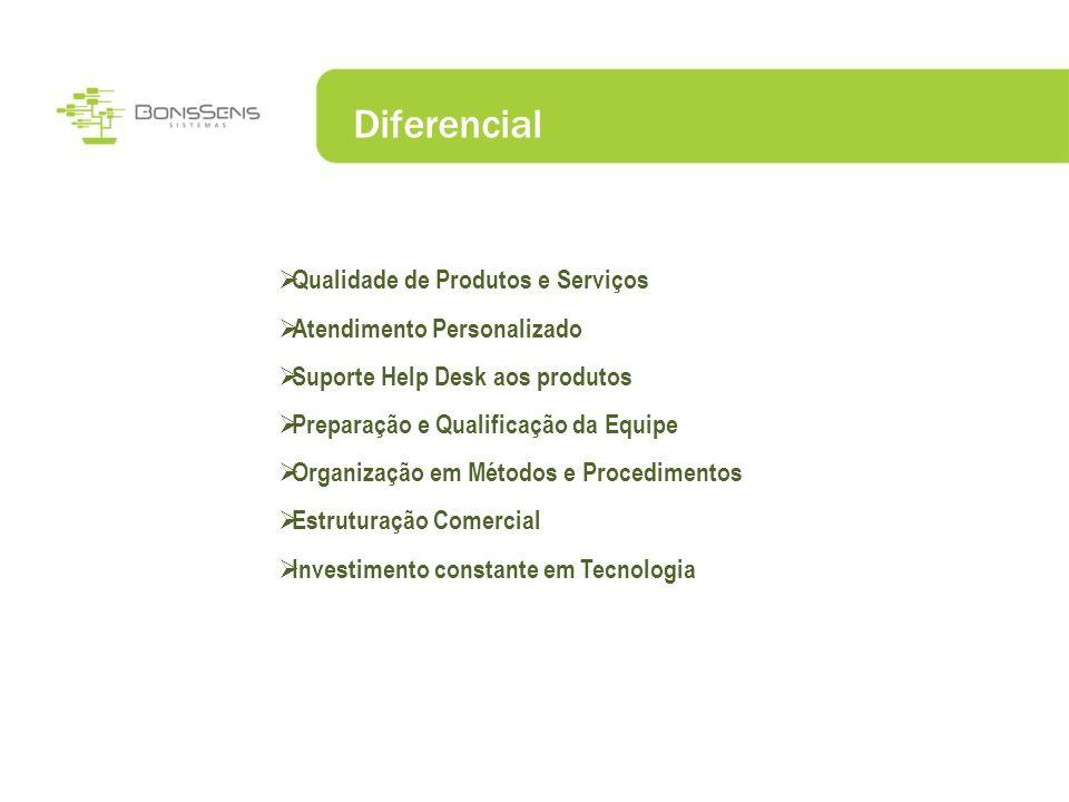 Diferencial Qualidade de Produtos e Serviços Atendimento Personalizado Suporte Help Desk aos produtos Preparação e Qualificação da Equipe Organização