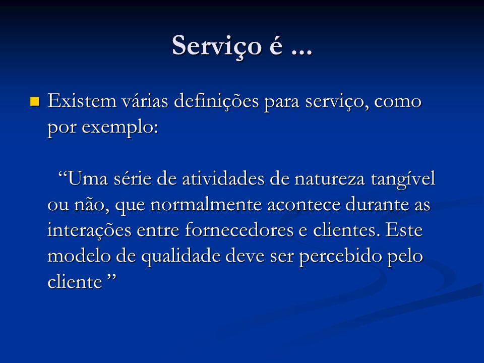 Serviço é... Existem várias definições para serviço, como por exemplo: Uma série de atividades de natureza tangível ou não, que normalmente acontece d