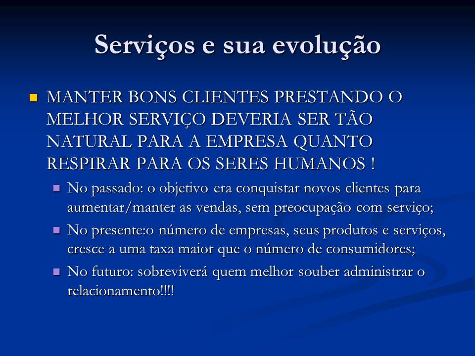 Serviços e sua evolução MANTER BONS CLIENTES PRESTANDO O MELHOR SERVIÇO DEVERIA SER TÃO NATURAL PARA A EMPRESA QUANTO RESPIRAR PARA OS SERES HUMANOS !