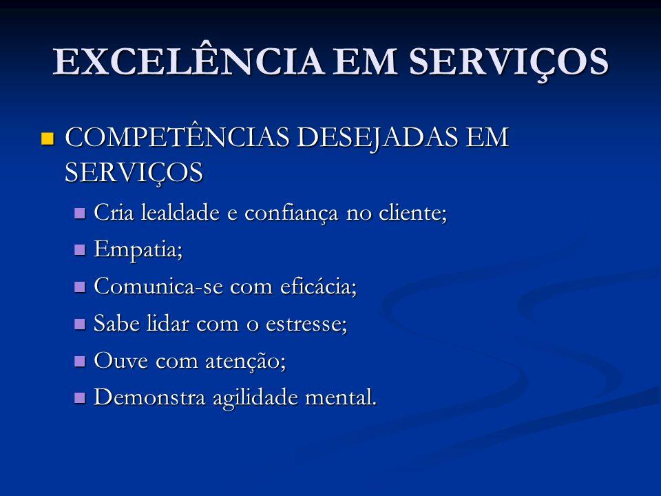 EXCELÊNCIA EM SERVIÇOS COMPETÊNCIAS DESEJADAS EM SERVIÇOS COMPETÊNCIAS DESEJADAS EM SERVIÇOS Cria lealdade e confiança no cliente; Cria lealdade e con