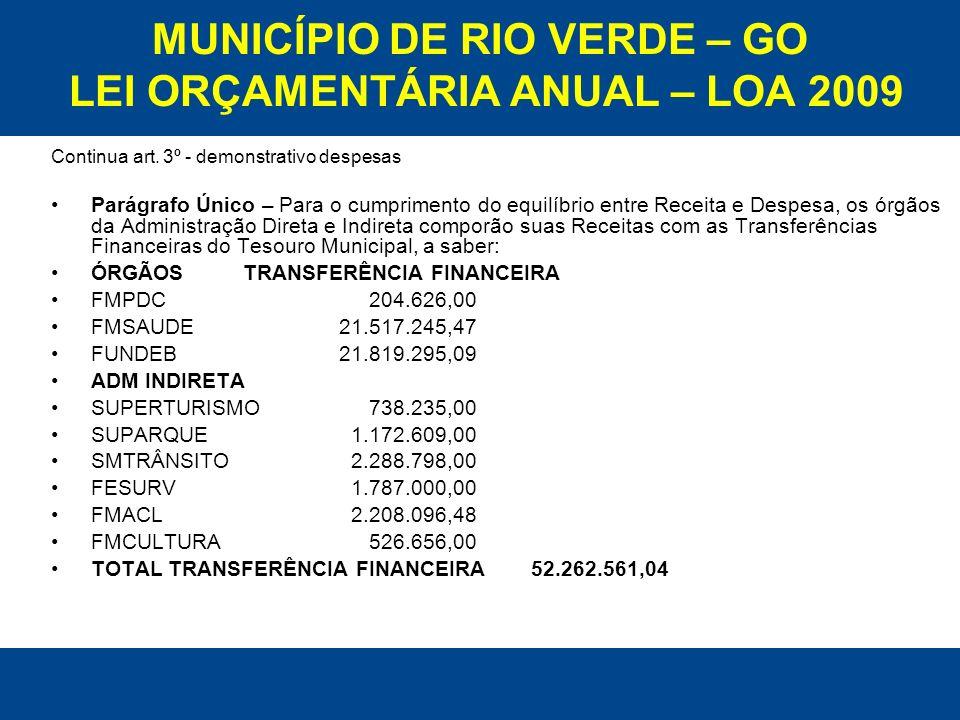 MUNICÍPIO DE RIO VERDE – GO LEI ORÇAMENTÁRIA ANUAL – LOA 2009 Continua art. 3º - demonstrativo despesas Parágrafo Único – Para o cumprimento do equilí