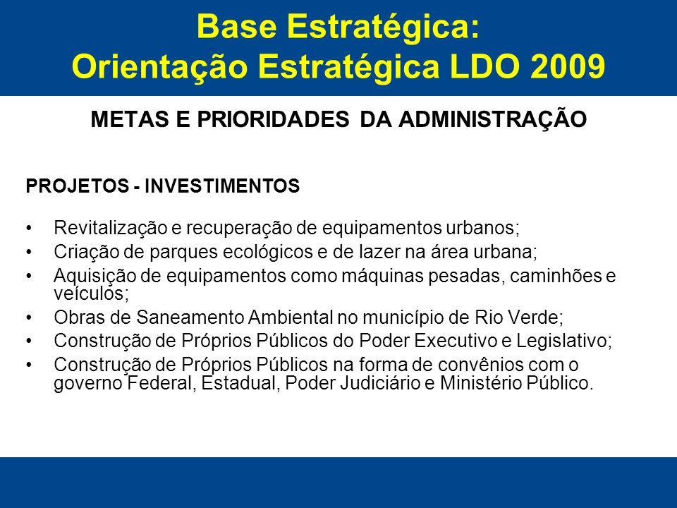 Base Estratégica: Orientação Estratégica LDO 2009 METAS E PRIORIDADES DA ADMINISTRAÇÃO PROJETOS - INVESTIMENTOS Revitalização e recuperação de equipam