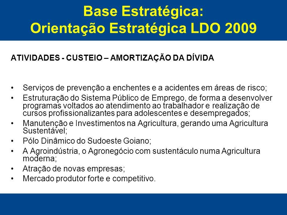 Base Estratégica: Orientação Estratégica LDO 2009 ATIVIDADES - CUSTEIO – AMORTIZAÇÃO DA DÍVIDA Serviços de prevenção a enchentes e a acidentes em área