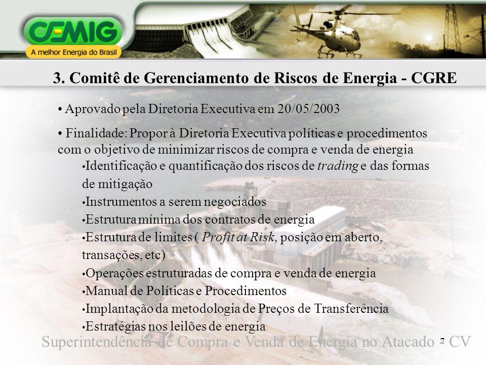 7 3. Comitê de Gerenciamento de Riscos de Energia - CGRE Aprovado pela Diretoria Executiva em 20/05/2003 Finalidade: Propor à Diretoria Executiva polí