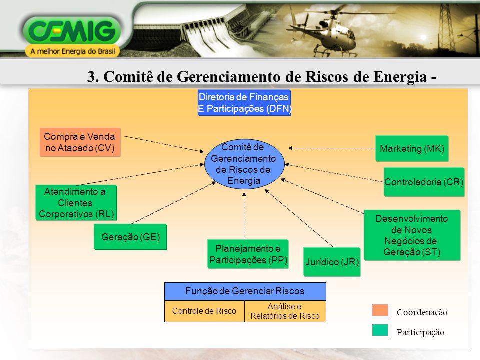 8 3. Comitê de Gerenciamento de Riscos de Energia - CGRE Geração (GE) Atendimento a Clientes Corporativos (RL) Jurídico (JR) Desenvolvimento de Novos
