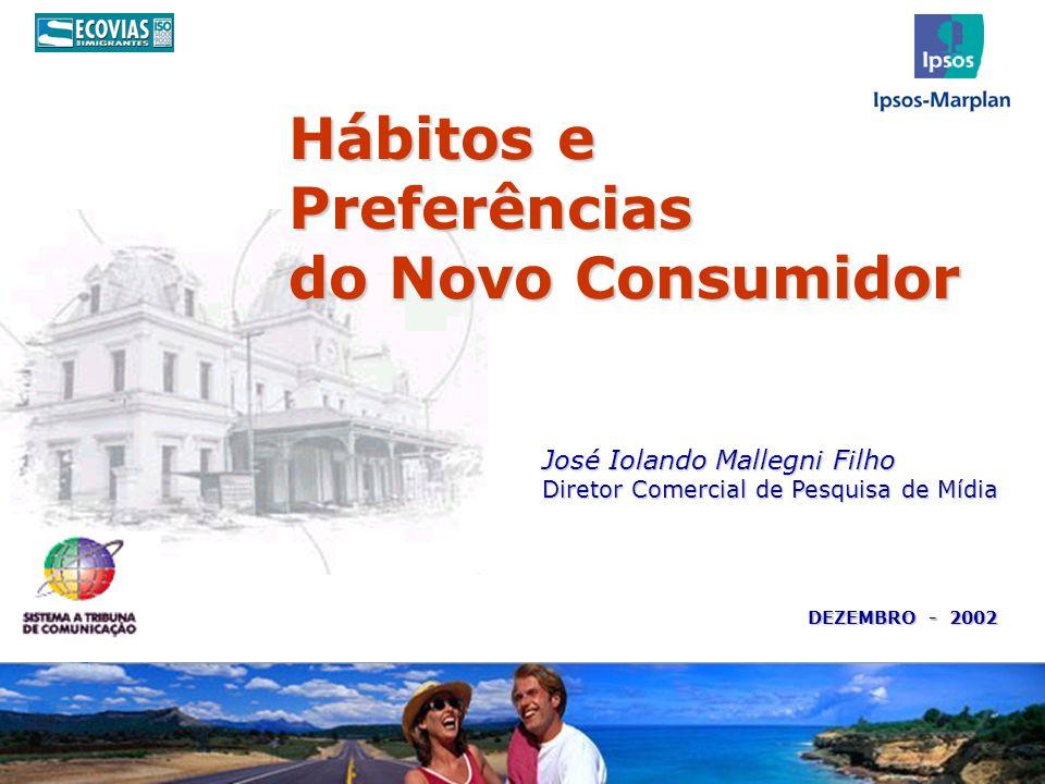 Hábitos e Preferências do Novo Consumidor DEZEMBRO - 2002 José Iolando Mallegni Filho Diretor Comercial de Pesquisa de Mídia