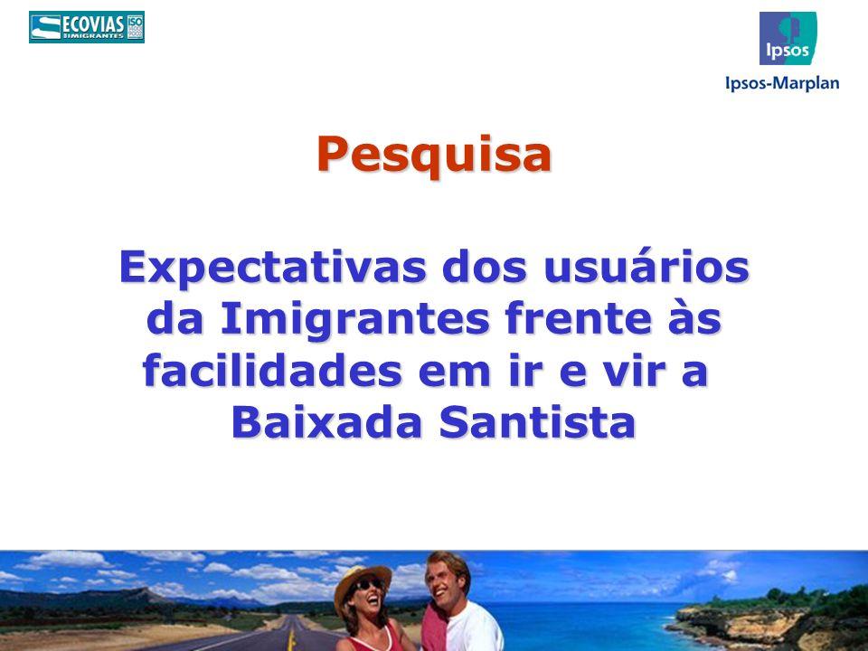 Pesquisa Expectativas dos usuários da Imigrantes frente às facilidades em ir e vir a Baixada Santista