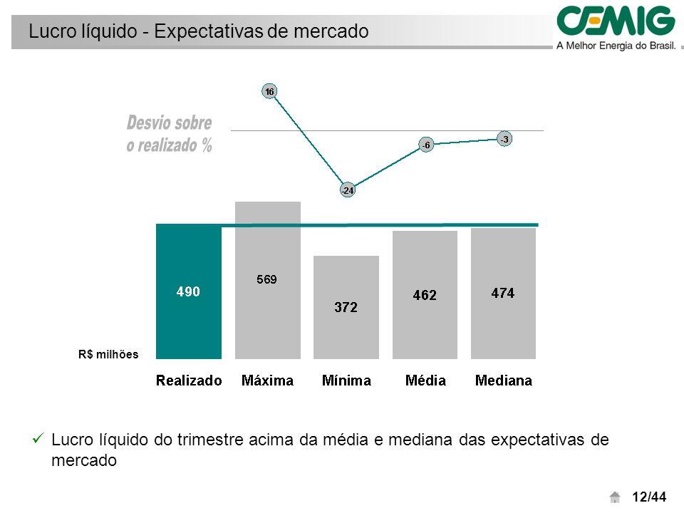 13/44 Evolução do Lucro Econômico Lucro econômico (R$ milhões)