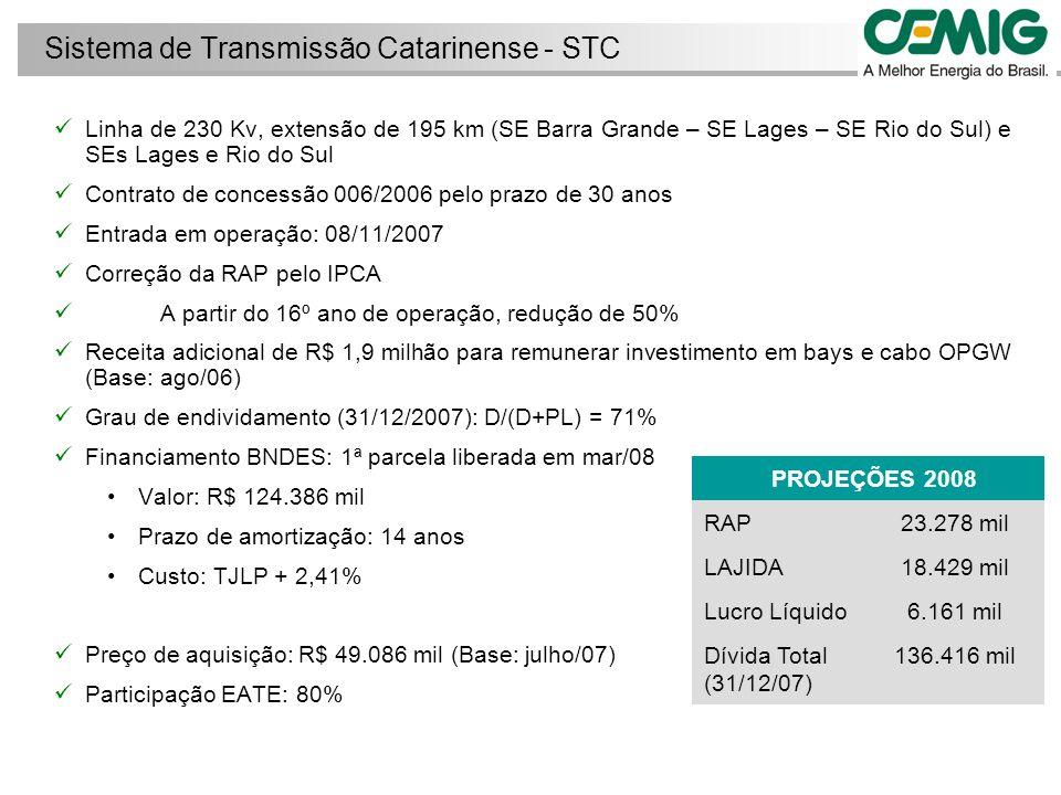 Linha de 525 kV e 40 km (Machadinho – Campos Novos) Contrato de concessão 007/2004 e aditado em ago/2006 prevendo: Transferência de 80% do capital da Lumitrans, vencedora do Leilão, para a Cia.