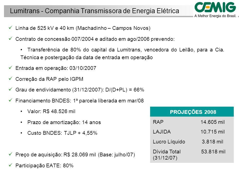 Linha de 525 kV e 40 km (Machadinho – Campos Novos) Contrato de concessão 007/2004 e aditado em ago/2006 prevendo: Transferência de 80% do capital da