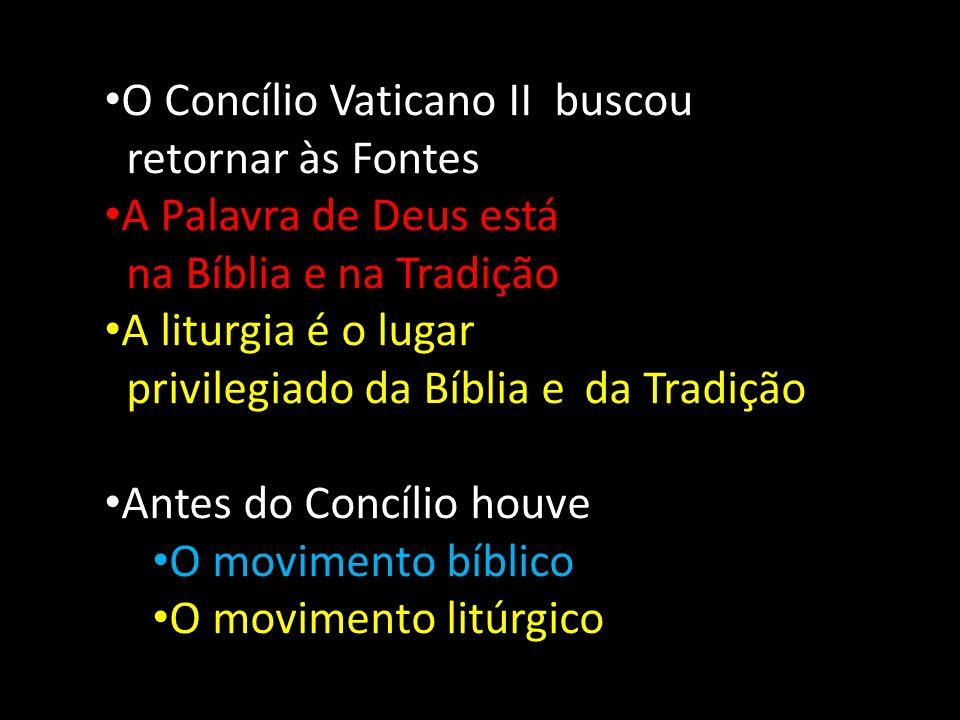 O Concílio Vaticano II buscou retornar às Fontes A Palavra de Deus está na Bíblia e na Tradição A liturgia é o lugar privilegiado da Bíblia e da Tradi