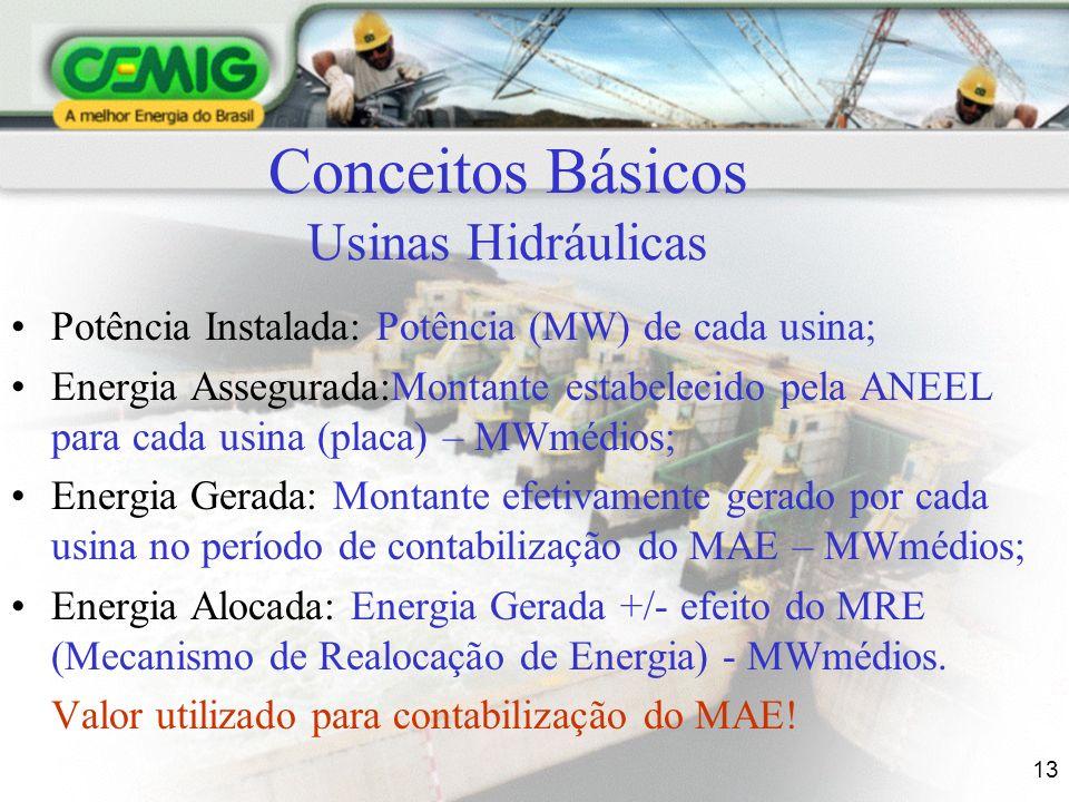 13 Conceitos Básicos Usinas Hidráulicas Potência Instalada: Potência (MW) de cada usina; Energia Assegurada:Montante estabelecido pela ANEEL para cada usina (placa) – MWmédios; Energia Gerada: Montante efetivamente gerado por cada usina no período de contabilização do MAE – MWmédios; Energia Alocada: Energia Gerada +/- efeito do MRE (Mecanismo de Realocação de Energia) - MWmédios.