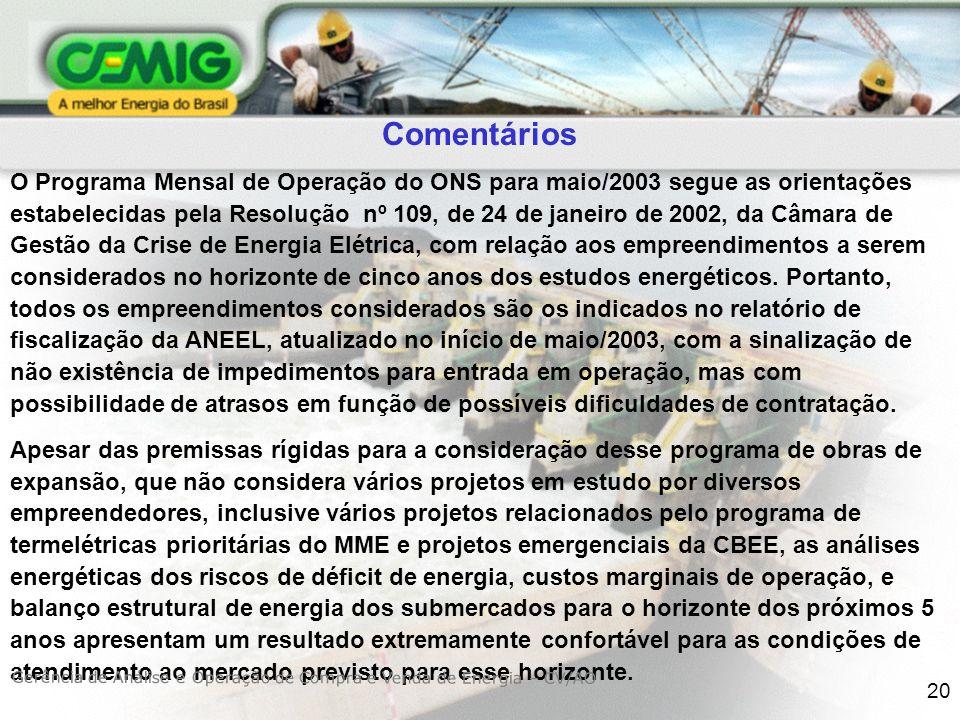 20 Comentários O Programa Mensal de Operação do ONS para maio/2003 segue as orientações estabelecidas pela Resolução nº 109, de 24 de janeiro de 2002, da Câmara de Gestão da Crise de Energia Elétrica, com relação aos empreendimentos a serem considerados no horizonte de cinco anos dos estudos energéticos.