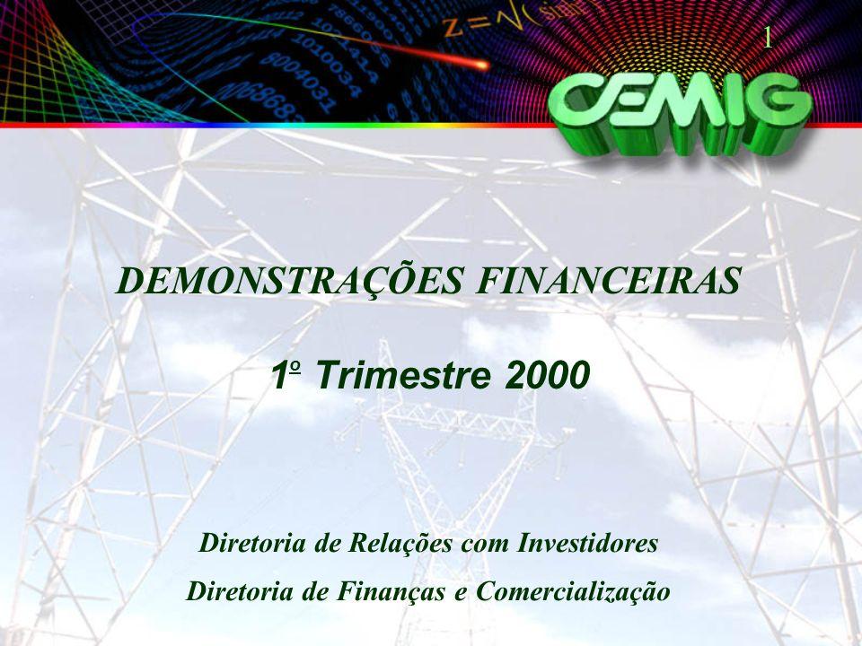 1 DEMONSTRAÇÕES FINANCEIRAS 1 o Trimestre 2000 Diretoria de Relações com Investidores Diretoria de Finanças e Comercialização
