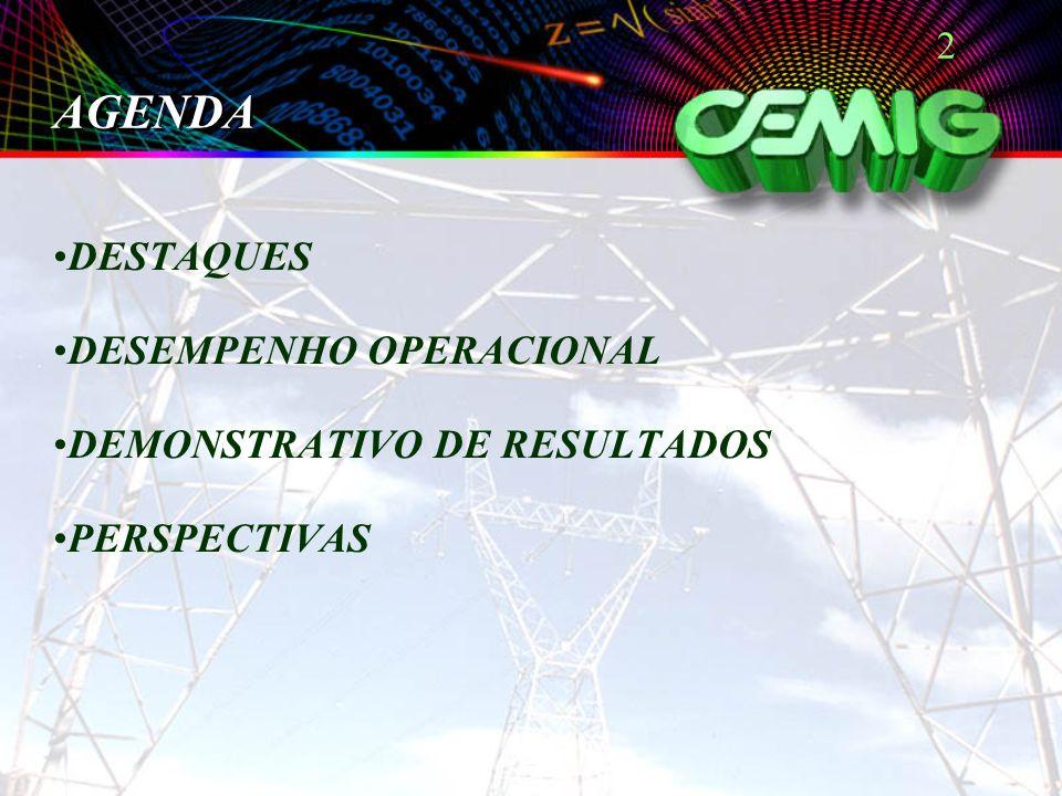 2 AGENDA DESTAQUES DESEMPENHO OPERACIONAL DEMONSTRATIVO DE RESULTADOS PERSPECTIVAS