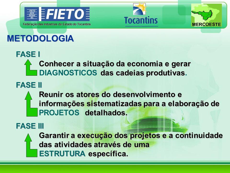 Federação das Industrias do Estado do Tocantins FASE I Conhecer a situação da economia e gerar das cadeias produtivas DIAGNOSTICOS das cadeias produti