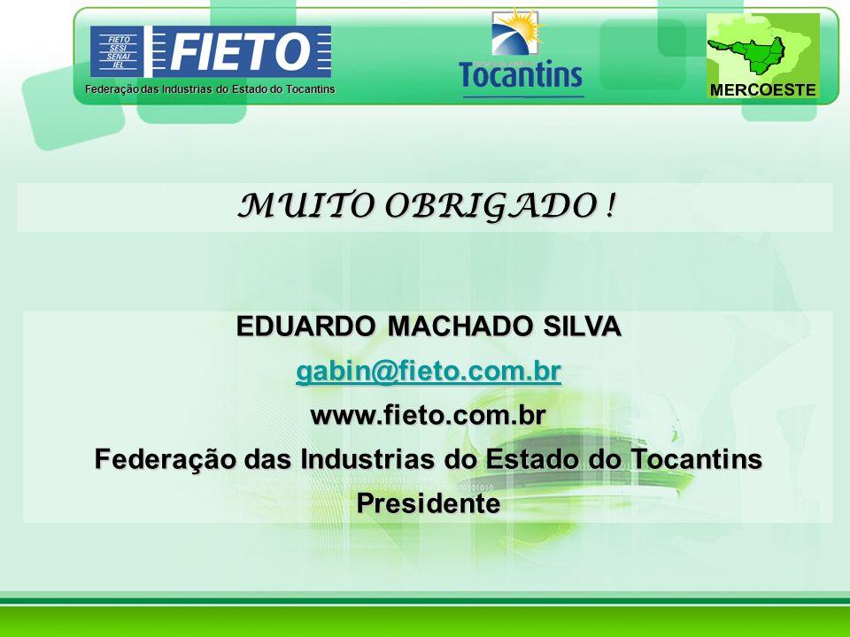 Federação das Industrias do Estado do Tocantins EDUARDO MACHADO SILVA gabin@fieto.com.br www.fieto.com.br Federação das Industrias do Estado do Tocant