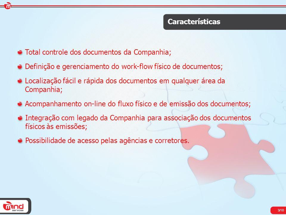 3/10 Características Total controle dos documentos da Companhia; Definição e gerenciamento do work-flow físico de documentos; Localização fácil e rápi