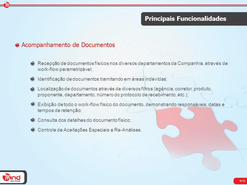 6/10 Principais Funcionalidades Acompanhamento de Documentos Recepção de documentos físicos nos diversos departamentos da Companhia, através de work-f
