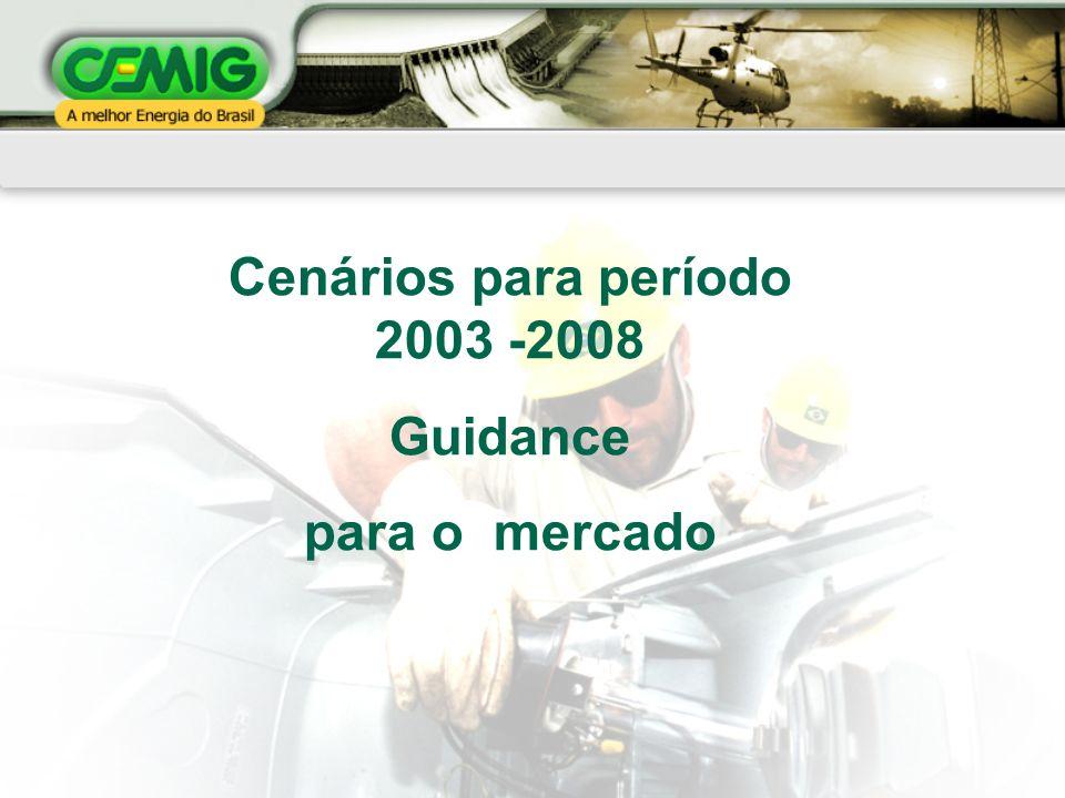 Cenários para período 2003 -2008 Guidance para o mercado