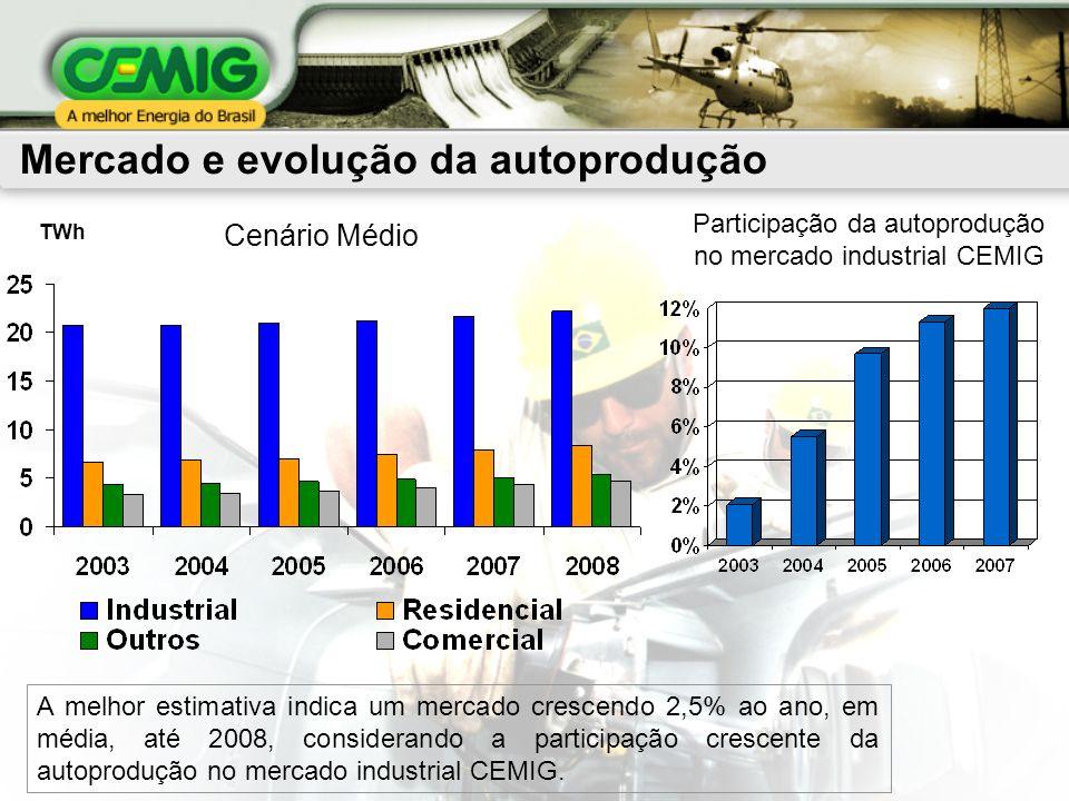 TWh A melhor estimativa indica um mercado crescendo 2,5% ao ano, em média, até 2008, considerando a participação crescente da autoprodução no mercado