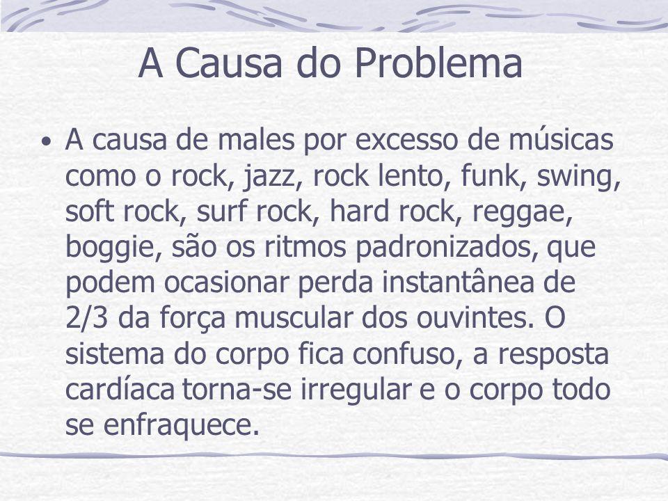A Causa do Problema A causa de males por excesso de músicas como o rock, jazz, rock lento, funk, swing, soft rock, surf rock, hard rock, reggae, boggie, são os ritmos padronizados, que podem ocasionar perda instantânea de 2/3 da força muscular dos ouvintes.