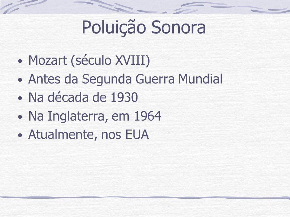 Poluição Sonora Mozart (século XVIII) Antes da Segunda Guerra Mundial Na década de 1930 Na Inglaterra, em 1964 Atualmente, nos EUA