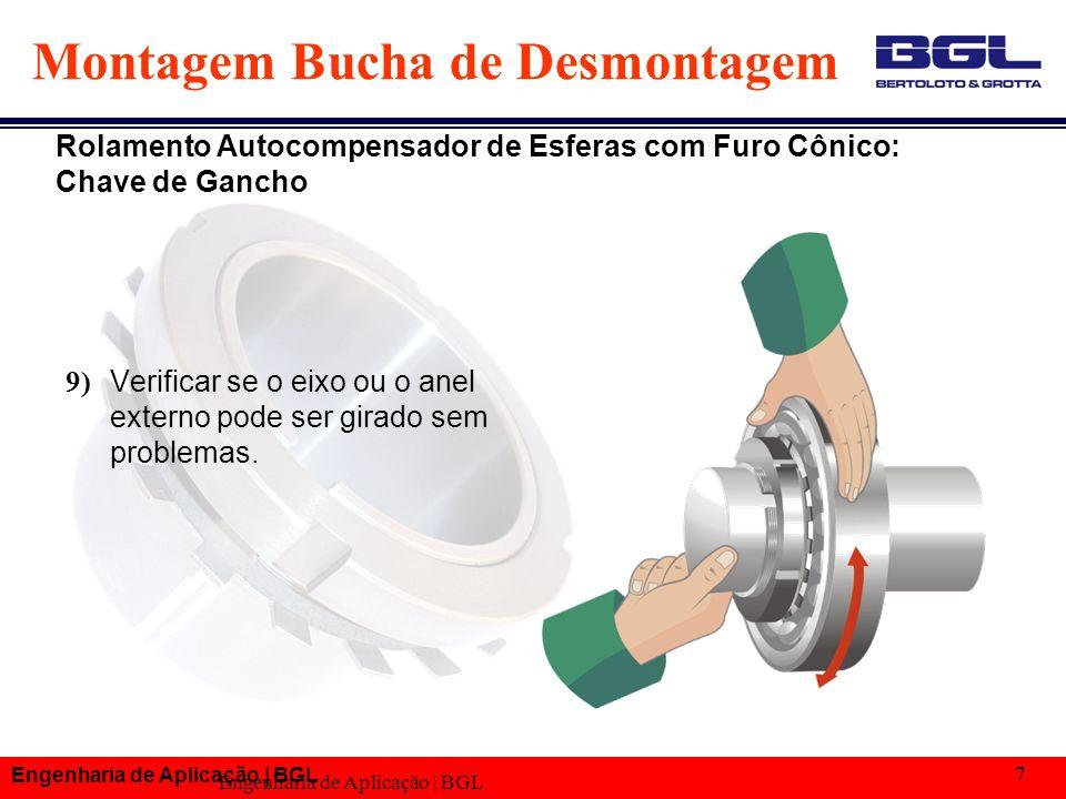 Engenharia de Aplicação | BGL 7 Montagem Bucha de Desmontagem 9) Verificar se o eixo ou o anel externo pode ser girado sem problemas. Rolamento Autoco