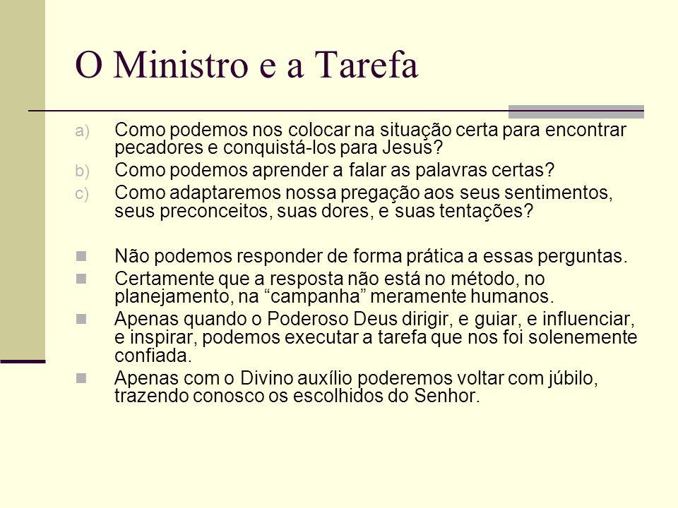 O Ministro e a Tarefa a) Como podemos nos colocar na situação certa para encontrar pecadores e conquistá-los para Jesus? b) Como podemos aprender a fa