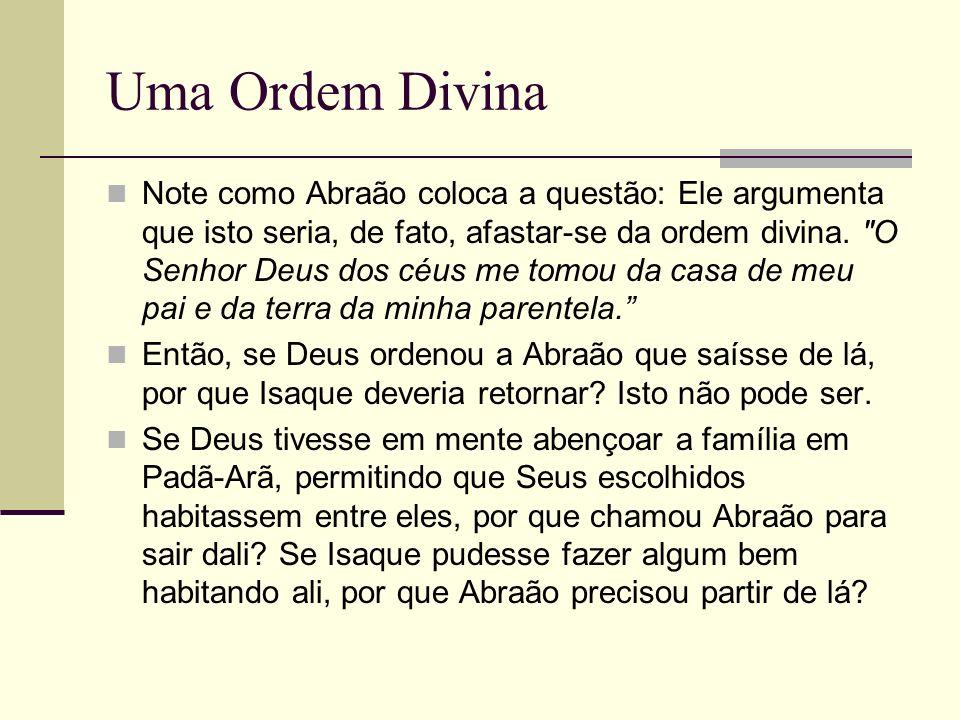 Uma Ordem Divina Note como Abraão coloca a questão: Ele argumenta que isto seria, de fato, afastar-se da ordem divina.