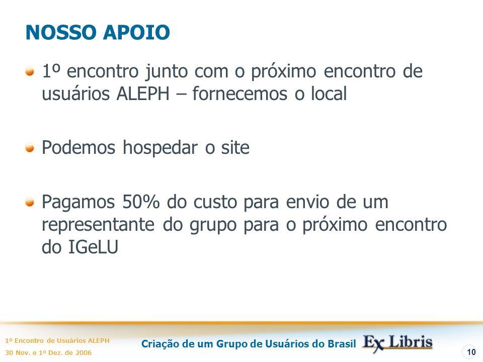 Criação de um Grupo de Usuários do Brasil 1º Encontro de Usuários ALEPH 30 Nov. e 1º Dez. de 2006 10 NOSSO APOIO 1º encontro junto com o próximo encon