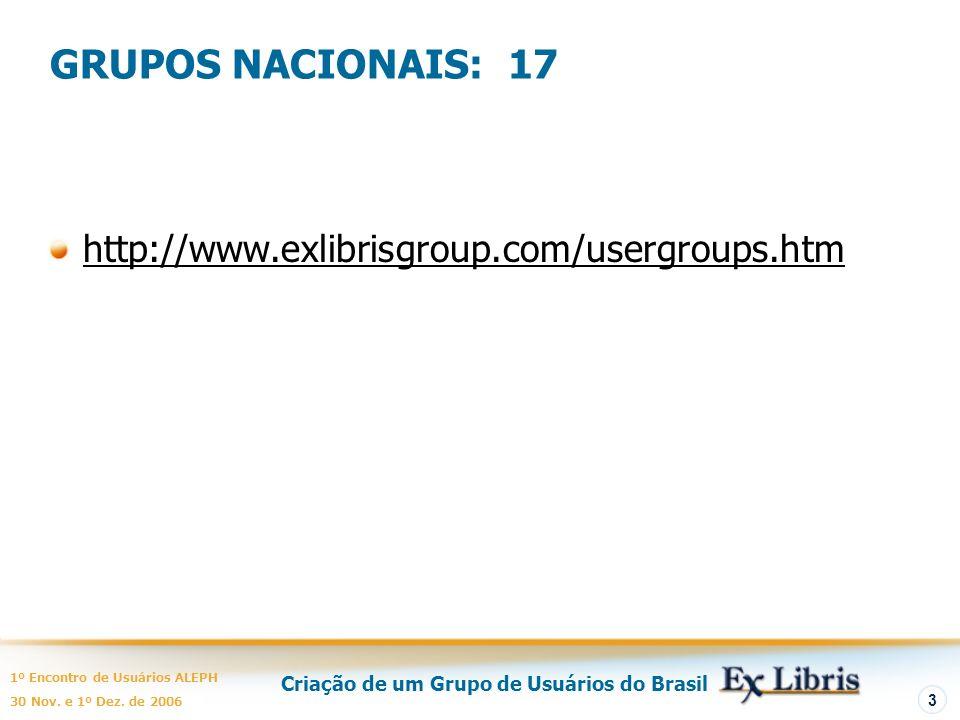 Criação de um Grupo de Usuários do Brasil 1º Encontro de Usuários ALEPH 30 Nov. e 1º Dez. de 2006 3 GRUPOS NACIONAIS: 17 http://www.exlibrisgroup.com/