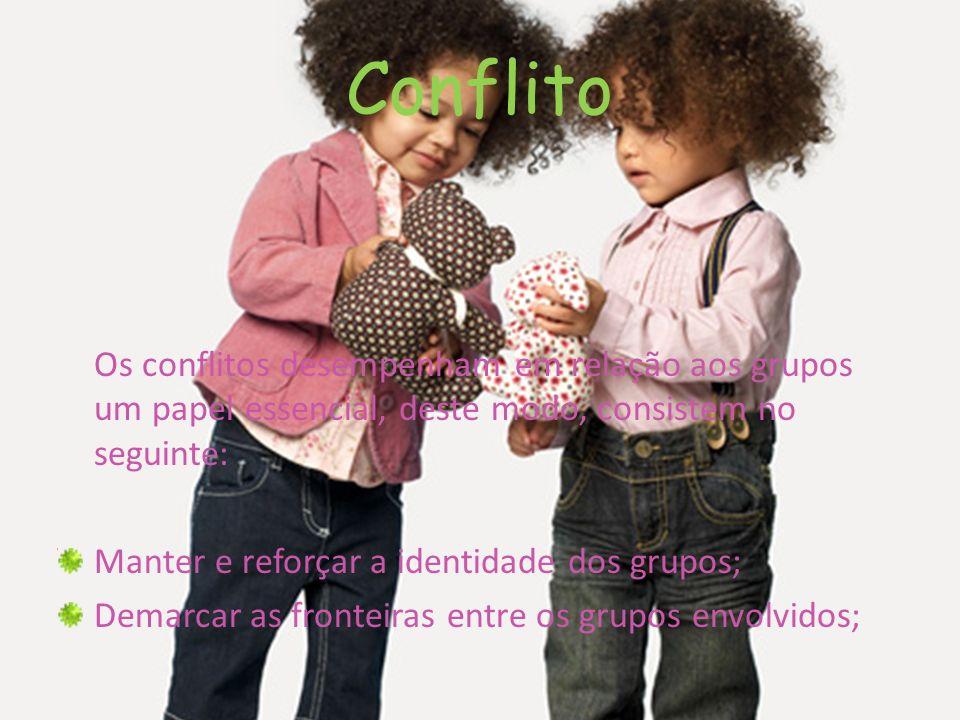 Conflito Os conflitos desempenham em relação aos grupos um papel essencial, deste modo, consistem no seguinte: Manter e reforçar a identidade dos grup
