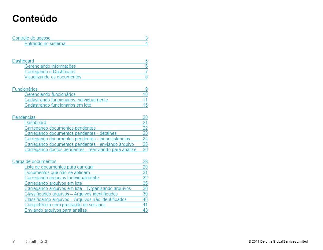 © 2011 Deloitte Global Services Limited Carga de documentos Carregando arquivos individualmente 33Deloitte CrCt Escolha o arquivo a ser carregado.