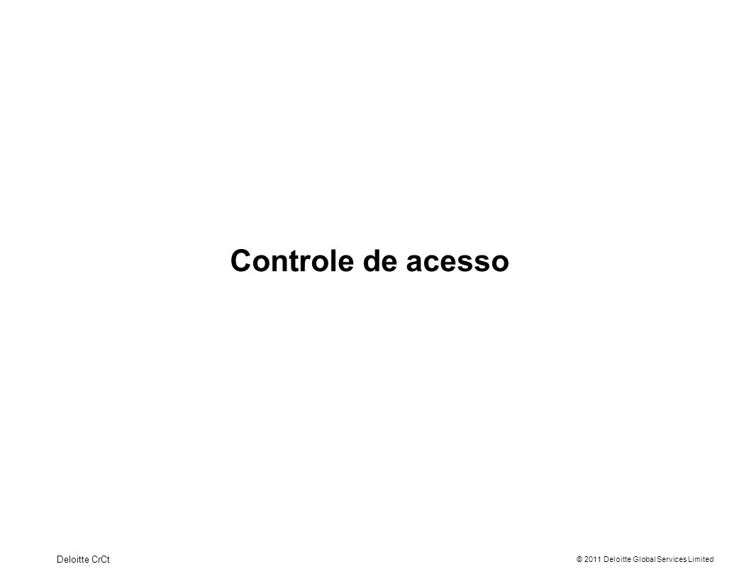 © 2011 Deloitte Global Services Limited Controle de acesso Entrando no sistema 4Deloitte CrCt Informar os dados de acesso enviados por email (endereço de email e senha) Para ter acesso ao manual, planilha de funcionários, recuperação de senhas, clicar em Ajuda