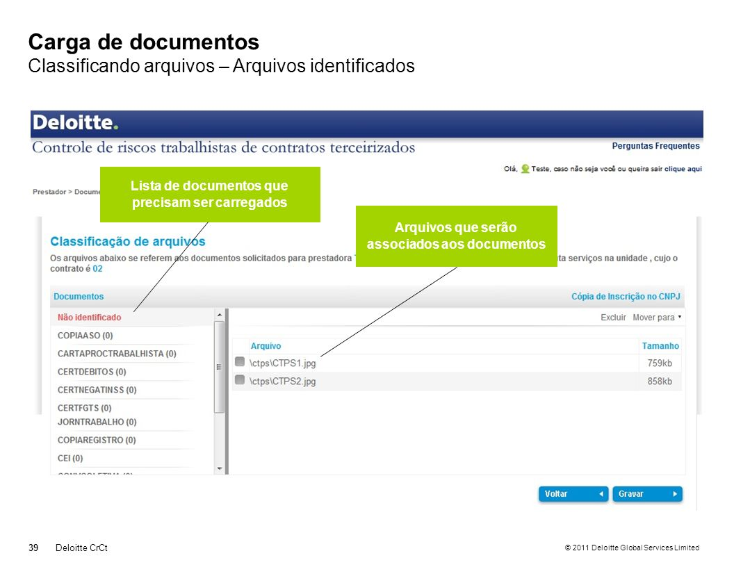 © 2011 Deloitte Global Services Limited Carga de documentos Classificando arquivos – Arquivos identificados 39Deloitte CrCt Lista de documentos que pr